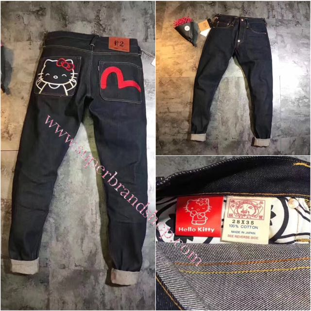 7285a8710 EVISU x Hello Kitty, Women's Fashion, Clothes, Pants, Jeans & Shorts on  Carousell
