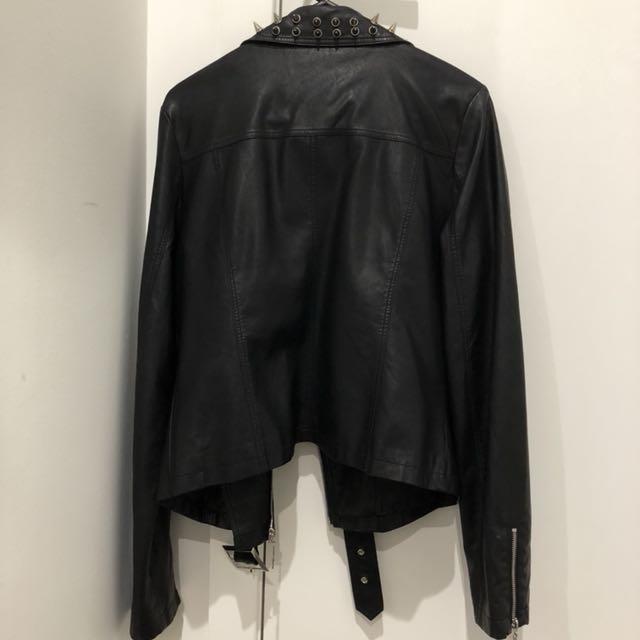 Faux leather studded/spiked biker jacket