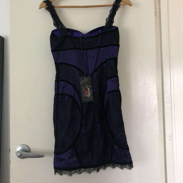 Fever purple and black lace tight fitted sexy lingerie dress evening wear. Size 6