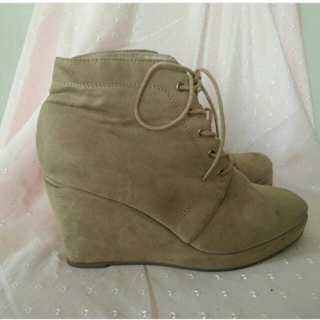 forever21 nude suede shoes wedges