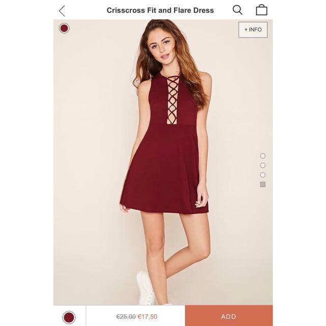 Forever 21 maroon criss cross dress