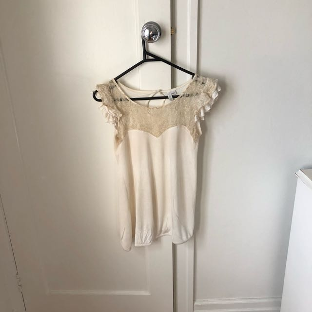 Forever New White Lace Top Size 6