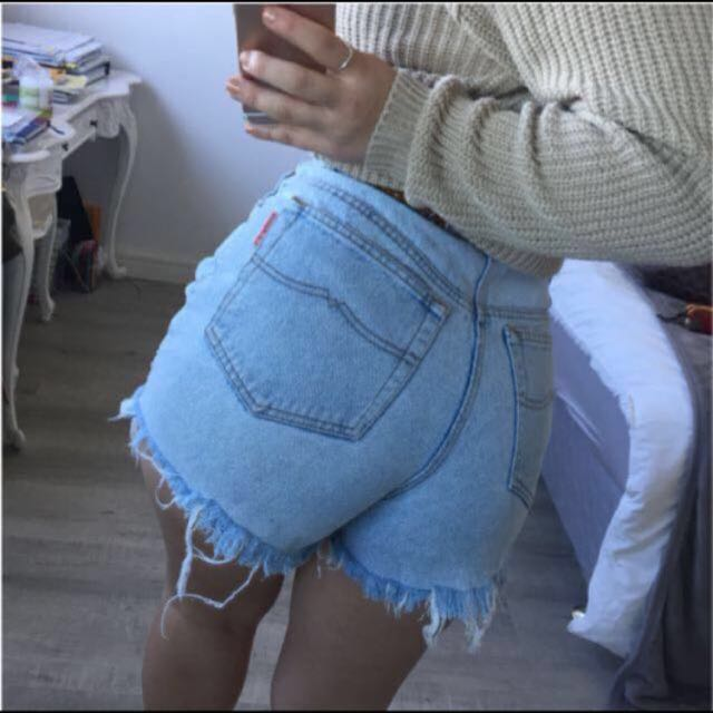 French Star Distressed Shorts