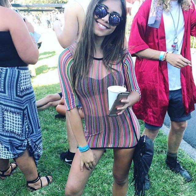 GLITTER KITTEN cosmic explosion rainbow festival mini dress