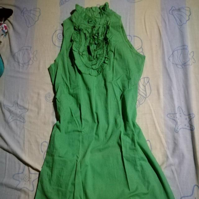Green Turtle Neck A-Line Dress