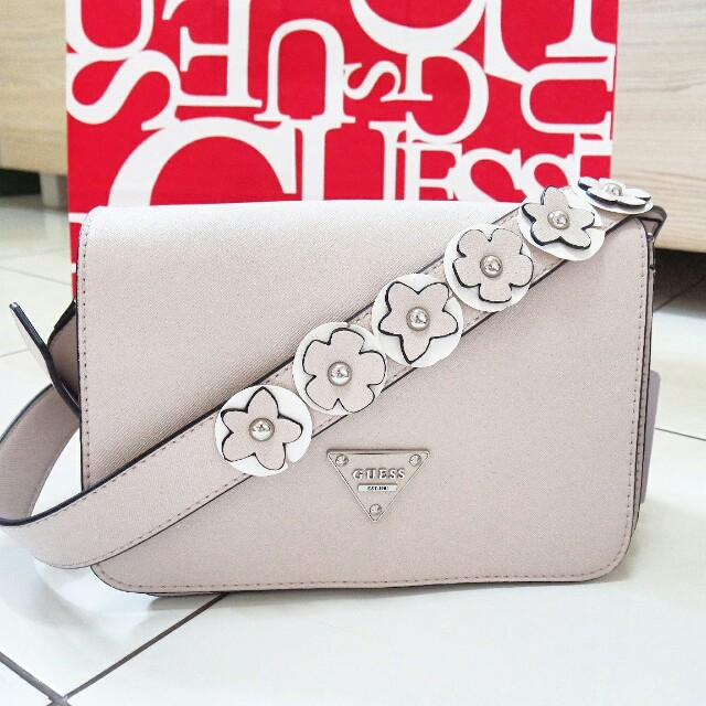 Guess Authentic floral strap bag nude pastel pink beige original