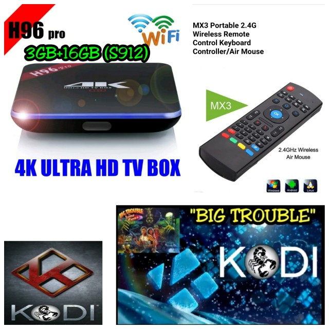 H96 PRO ANDROID 6.0 TV BOX 3GB+16GB AND MX3 WIRELESS AIR MOUSE REMOTE CONTROL