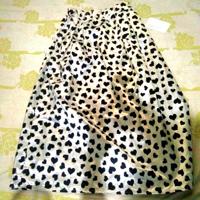 Heart-print Long Skirt