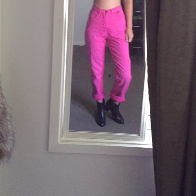 High Waisted Hot Pink Mom Jeans