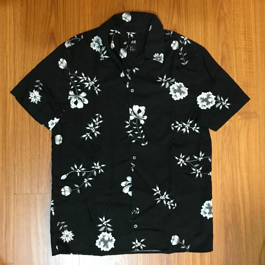 H&M 襯衫 花 黑色 復古 S號 男生