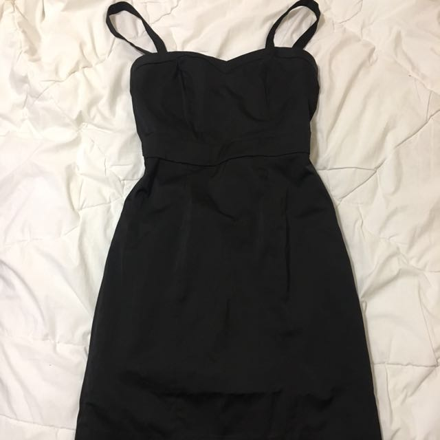 H&m Black Removable Straps Sweetheart Neckline Dress