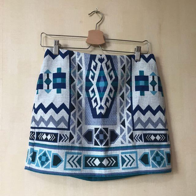H&M Blue Tribal Mini Skirt