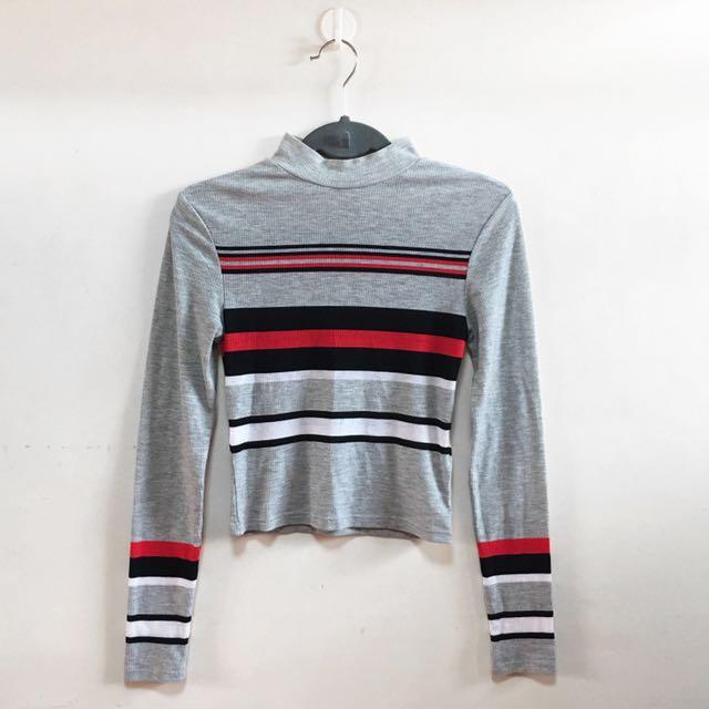 H&M Striped High Neck Crop Top