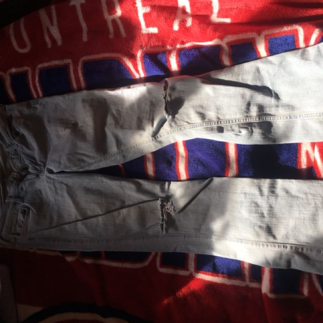 Hollister flared ripped denim