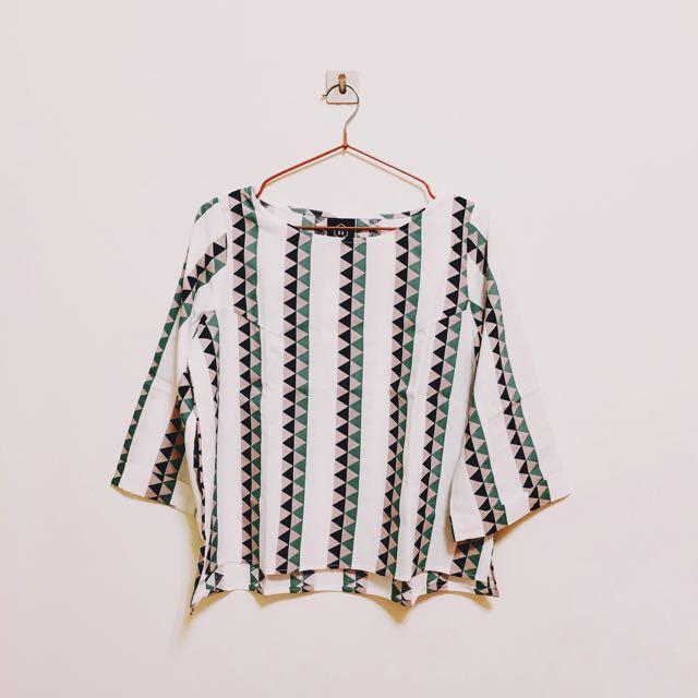 iSelect Ivy款配色幾何直條棉麻上衣 #我的女裝可超取