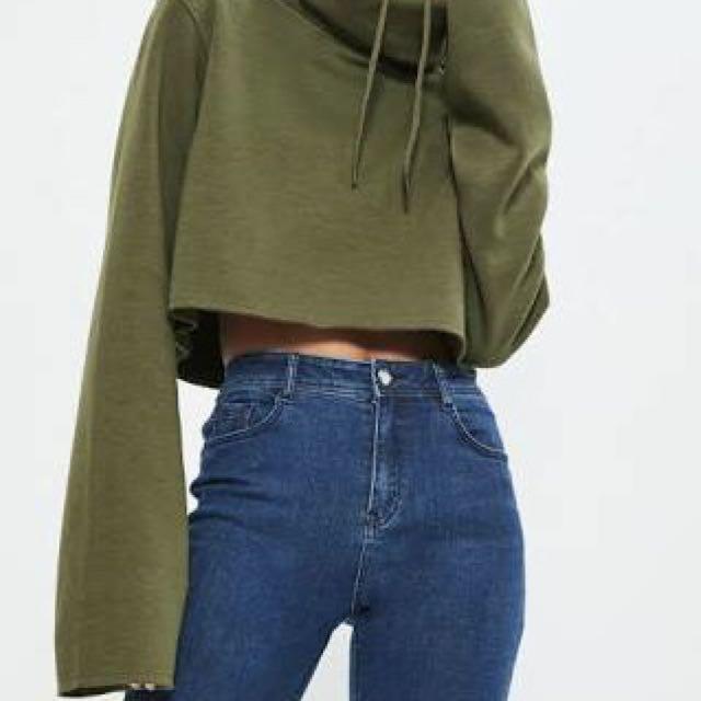 Khaki cropped hoodie