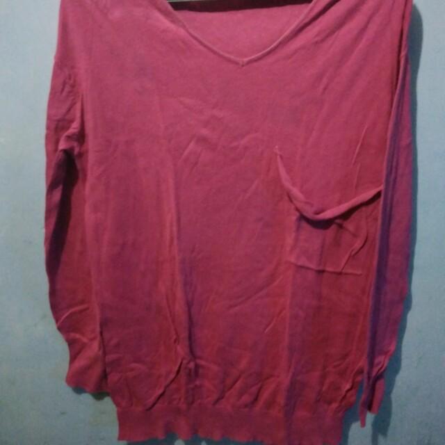 Knitwear pink panjang