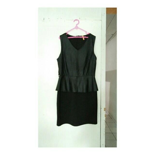Leather Combi Dress / Terusan Wanita