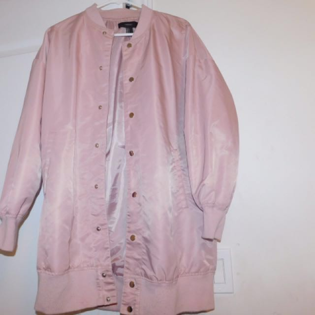 Long Pink Bomber Jacket