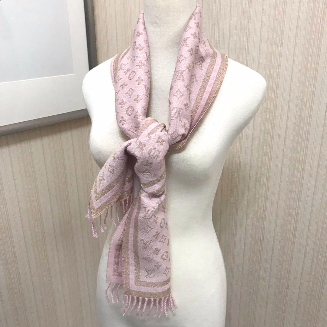 Louis Vuitton LV  貝殼粉 克什米爾 流蘇圍巾