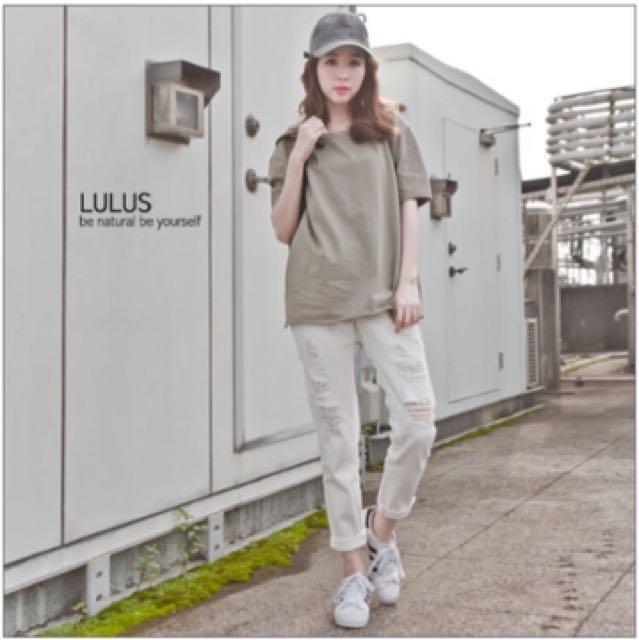 Lulus大腿刷破斜紋長褲#我的女裝可超取 #手滑買太多
