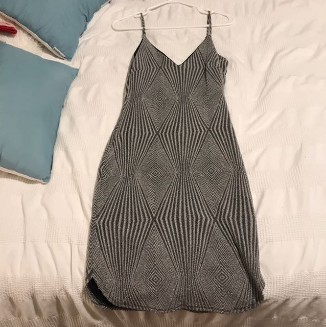M Boutique Silver Sparkly Dress