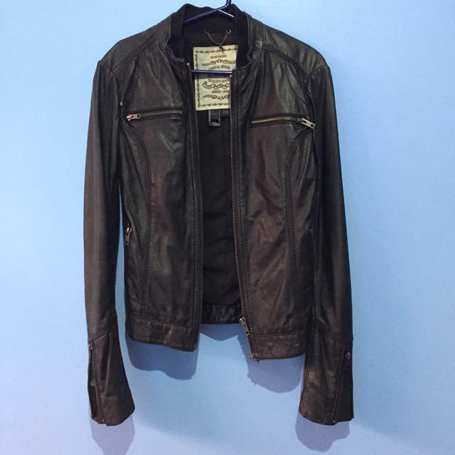Mango Genuine Leather Jacket - XS