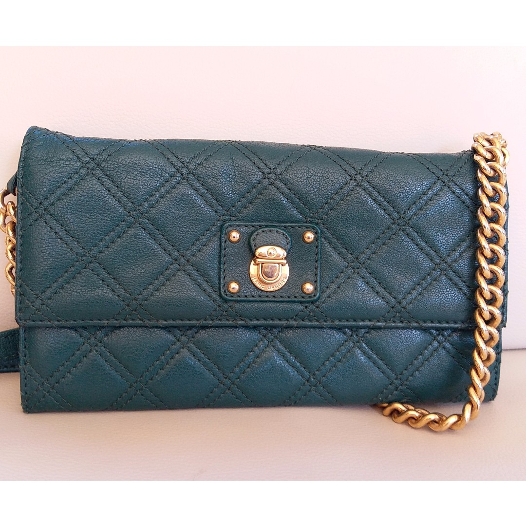 Marc Jacobs Dark Green Quilted Leather Wallet Chain Clutch Crossbody bag