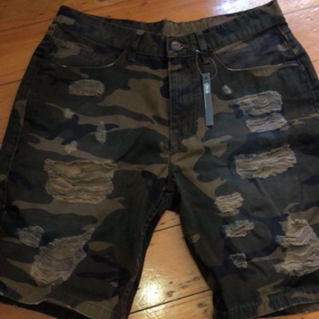 Men's camouflage denim shorts