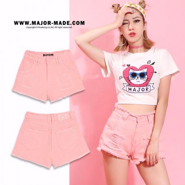 Mjr major made 粉色抽鬚高腰短褲