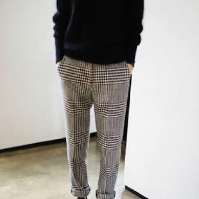 Monki tartan check pants grey