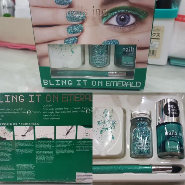 Nails inc. Bling it on emerald nail enamels glitter nail polish green