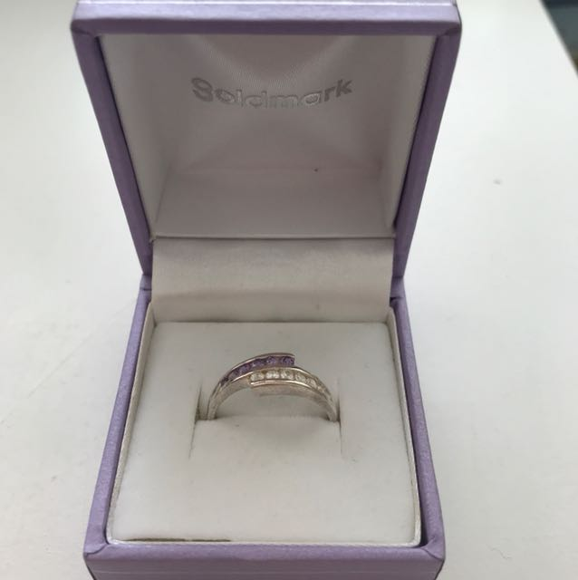 NEW sterling silver ring with crystals
