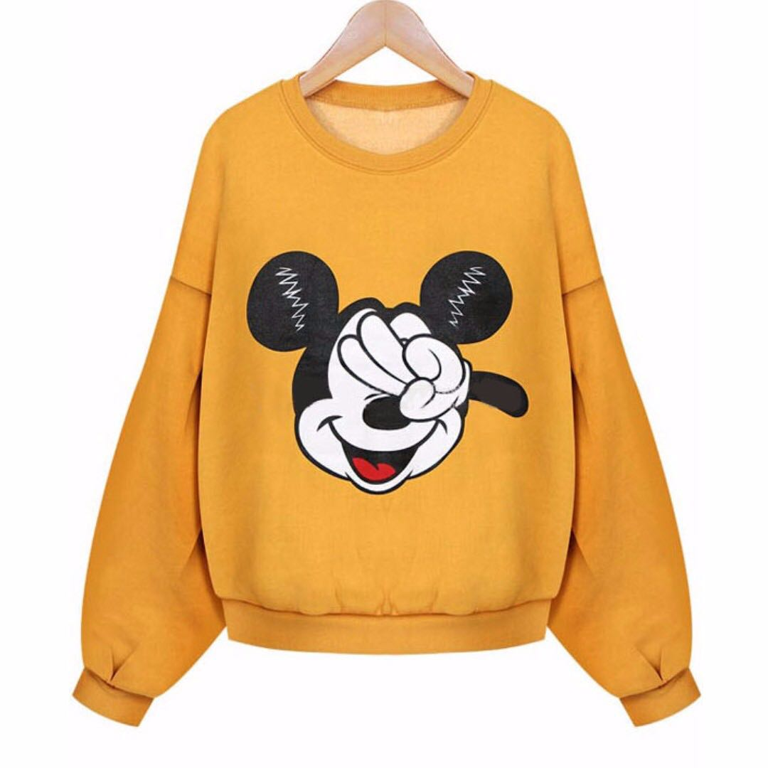 orange mickey puffy sweater pullover