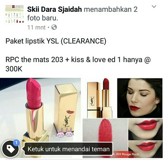 Paket Lipstik YSL - RPC rouge pur couture the mats - kiss and love