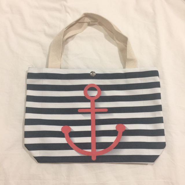 Pink Anchor Small Tote Bag