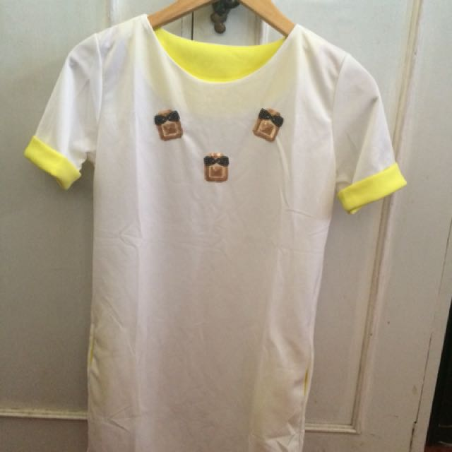 Preloved white & yellow with cute design dress