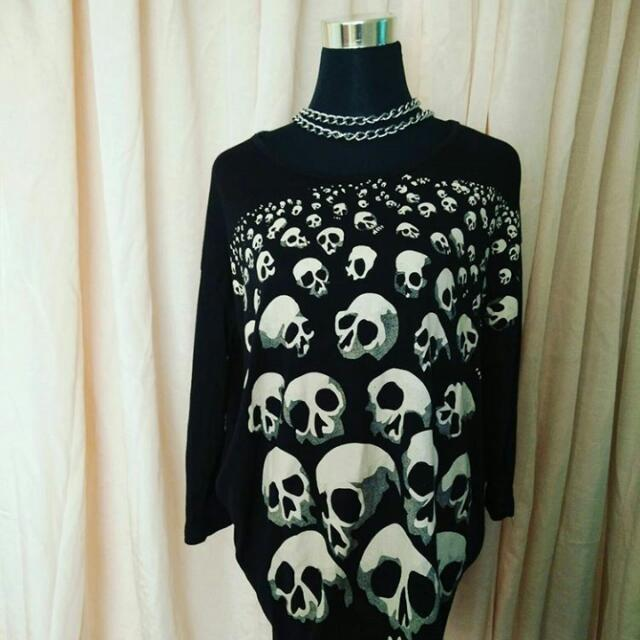 punk long gothic top skull