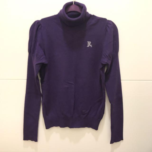 Ralph Lauren polo紫色高領公主袖S