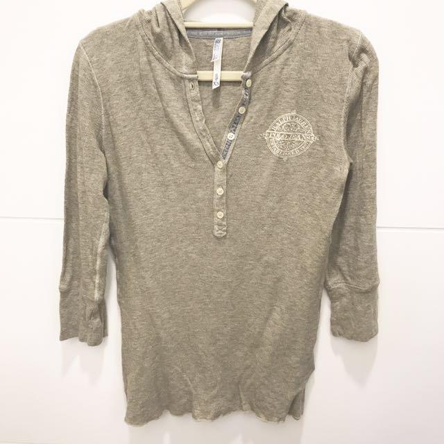 Ralph Lauren polo灰色棉帽七分袖XS