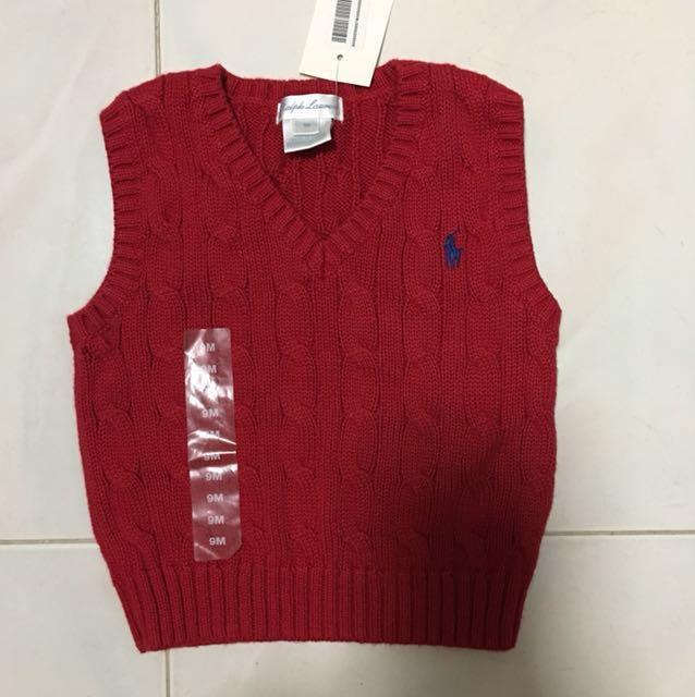 a58e1d239 Ralph Lauren Top Vest winter cotton v jacket polo New red baby boy ...