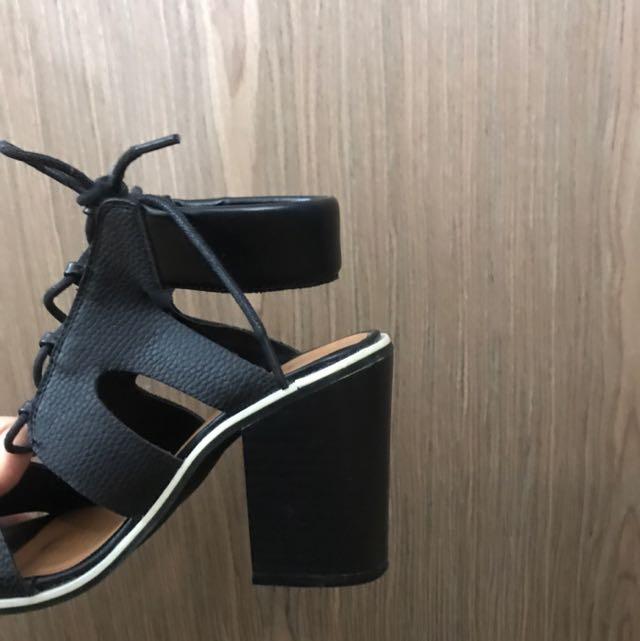 Rubi Lace Up Black Heels