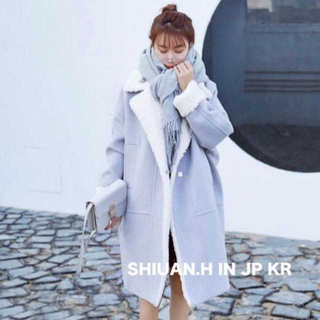 Shiuan H. in KR 2017 11月韓國帶回秋冬新款大翻領羊羔毛繭型加厚呢大衣