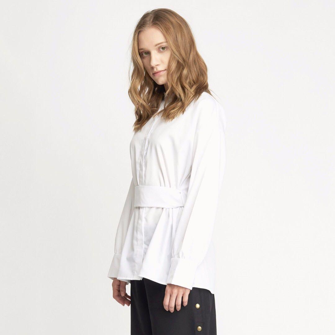 Shopatvelvet Mars Mandarin Collar Button Down Shirt - White
