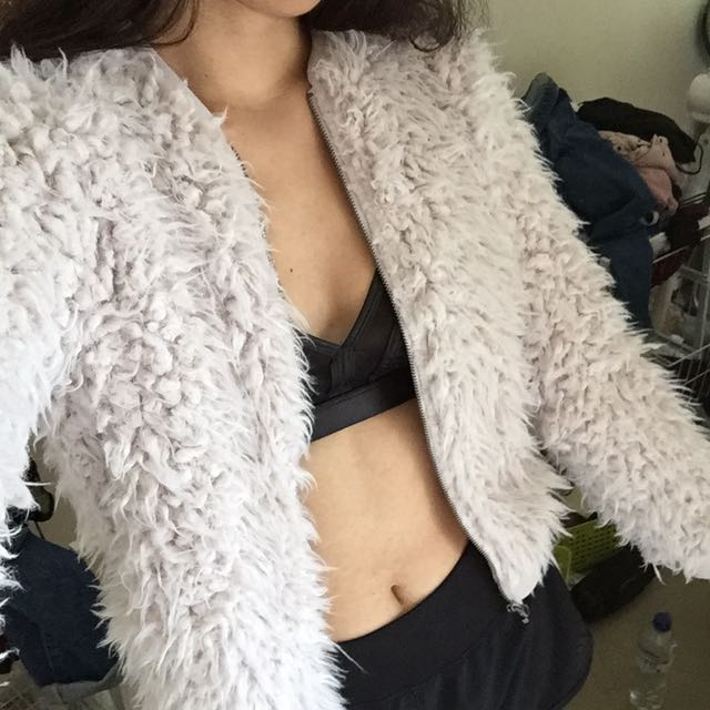 soft fluffy zip up jacket