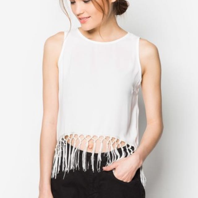 Something Borrowed Fringed Cut In Top