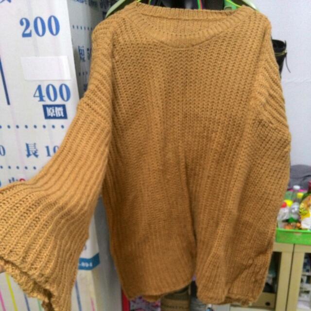 {私物}免運>尺寸S~XL>韓版寬袖咖毛衣