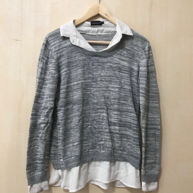 The Executive - Shirt in Grey Sweater