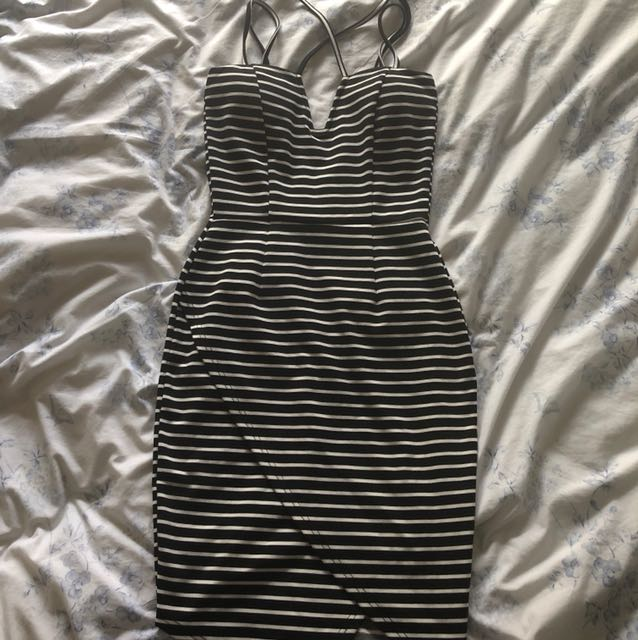 Tight black n white dress