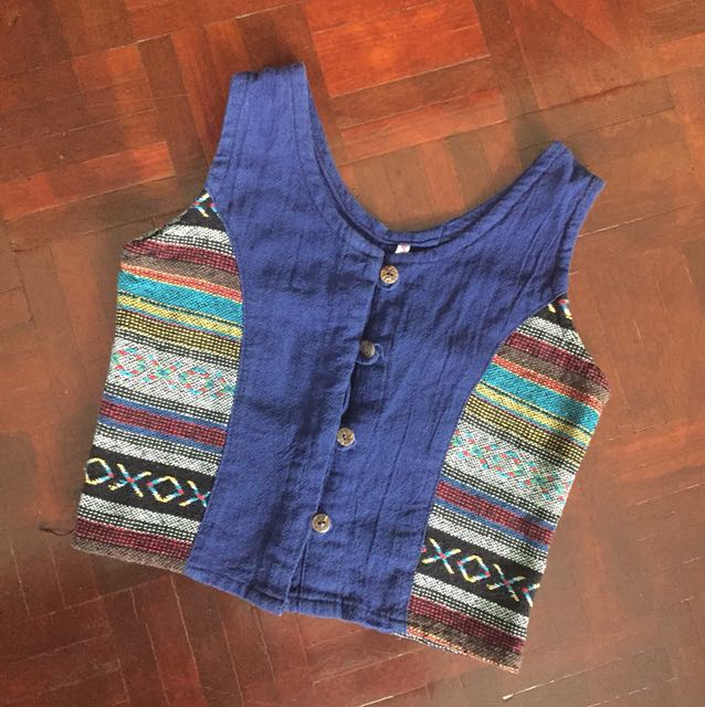 Tribal button down croptop